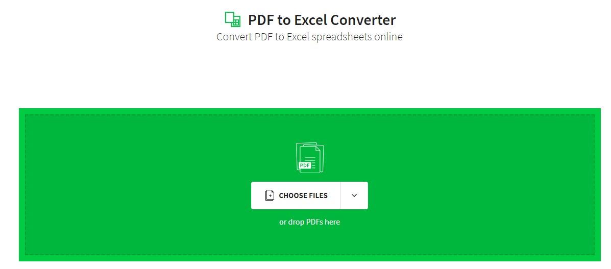 smallpdf convert pdf to excel