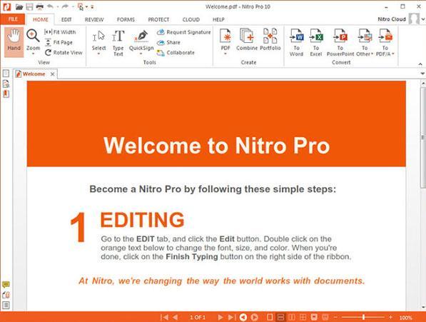 nitro pro convert pdf to excel