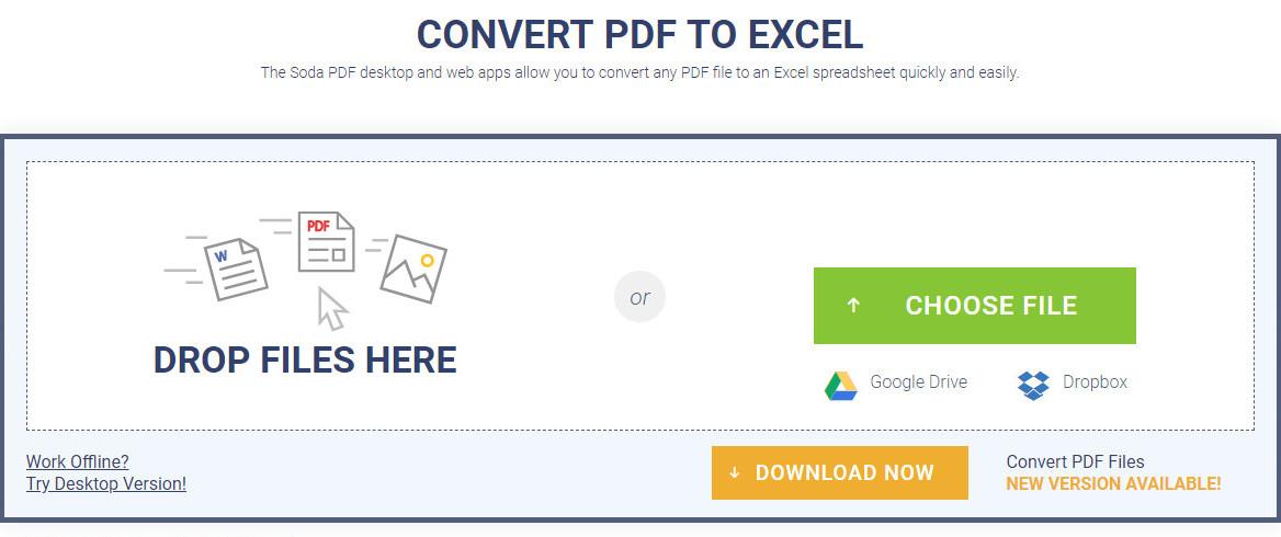 sodapdf convert pdf to excel